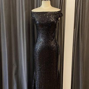 Theia Leigh Dress in Black Sequin Bridesmaid Dress